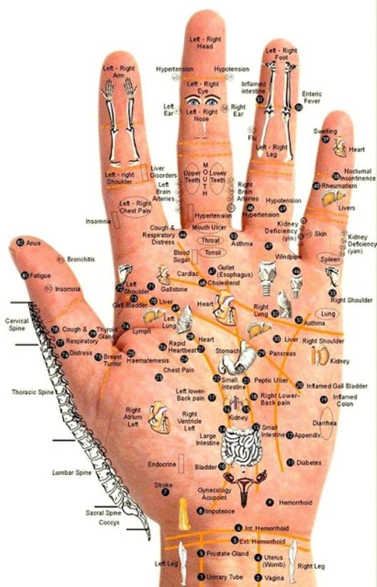 puncte reflex  pe mana